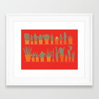 cacti Framed Art Prints featuring Cacti by The Printed Peanut