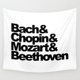 Bach and Chopin and Mozart and Beethoven, sticker, circle, white Wall Tapestry
