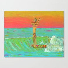 Hang 10 Retro Surf Dude Longboard Surf Canvas Print