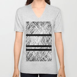 Interrupted Thoughts - Abstract Black And White Unisex V-Neck
