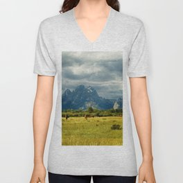 Horses and the Grand Teton Unisex V-Neck