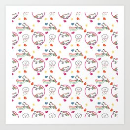 Rainbow Unicorns & Clouds with Hearts Art Print