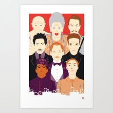 Many People In This Hotel (Faces & Movies) Art Print