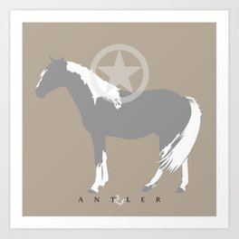 Horse with Star - Grey and White Art Print