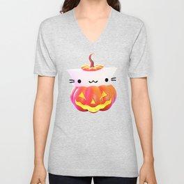 Pumpkin Cat Unisex V-Neck