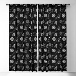Dahlia Flowers Pattern - Black Grey Blackout Curtain