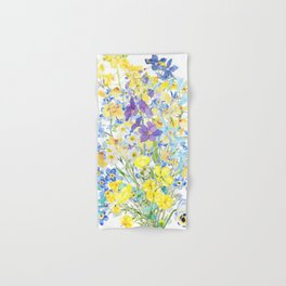 purple blue and yellow flowers bouquet watercolor   Hand & Bath Towel