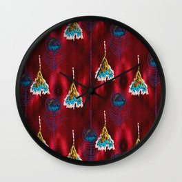 Red Peacock Feather Wall Clock