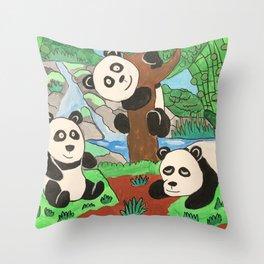 Playful Pandas Throw Pillow