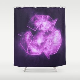 Recycle Sign. Abstract night sky background Shower Curtain