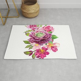 Flower bouquet. Roses watercolor Rug
