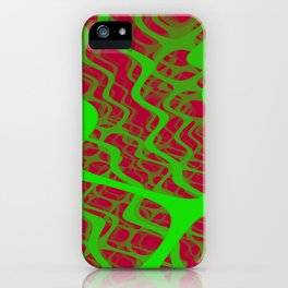 Layers of green lines in red space iPhone Case