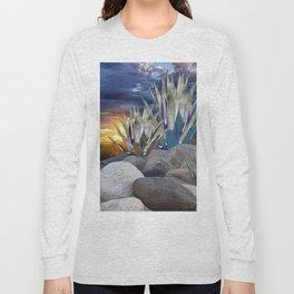 AGAVE CACTUS & GREY ROCKS SUNSET LANDSCAPE Long Sleeve T-shirt