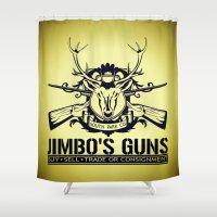 guns Shower Curtains featuring Jimbo's Guns by Silvio Ledbetter