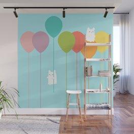 Fluffy bunnies and the rainbow balloons Wall Mural