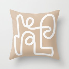 beige squiggle Throw Pillow