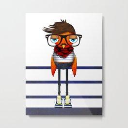 Hipster Bird Metal Print