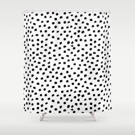Dalmatian Dots Black White Spots Shower Curtain