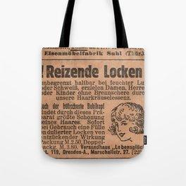 Funny German Vintage Advertising Reizende Locken Tote Bag