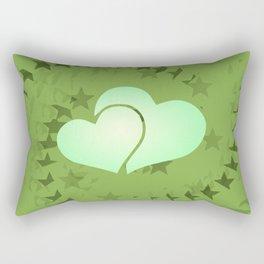 Two green hearts illusion Rectangular Pillow