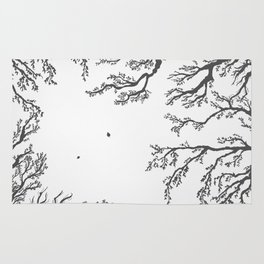 tree branches with birds and leaves on a light background Rug