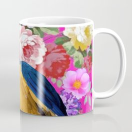 Blue & Gold Macaw Parrot Fuchsia Pink Floral Coffee Mug