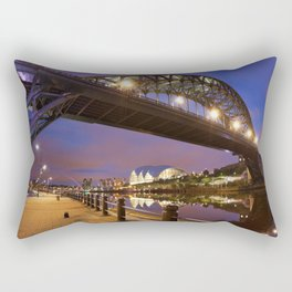 Bridges over the river Tyne in Newcastle, England at night Rectangular Pillow