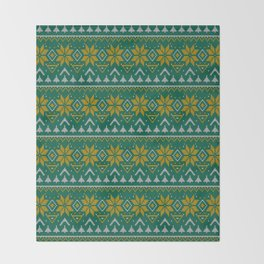Knitted Christmas pattern green Throw Blanket