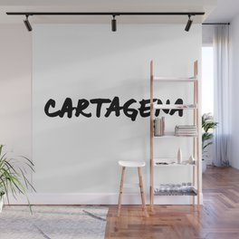 Cartagena Colombia Hand Letter Type Word Black & White Wall Mural