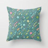 alisa burke Throw Pillows featuring Microbes by Anna Alekseeva kostolom3000