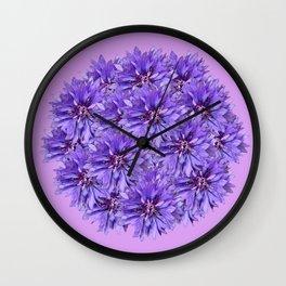 Purple Flower Ball Illustration - Lilac Background #decor #society6 #buyart Wall Clock