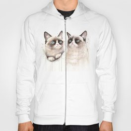 Grumpy Watercolor Cats Hoody