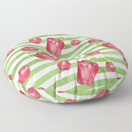 Red Bell Peppers on Green Stripes Floor Pillow
