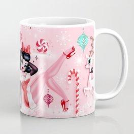 Christmas Pinup Girl with Reindeer Coffee Mug
