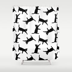 Cats on White Shower Curtain