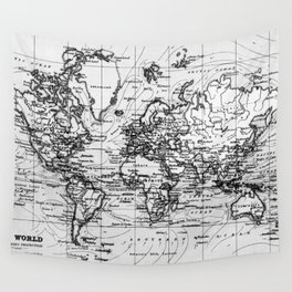 World Map (1899) White & Black Wall Tapestry