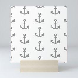 Anchors - white with gray Mini Art Print