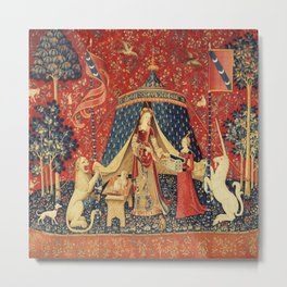 Lady and Unicorn Metal Print