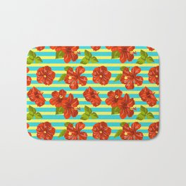Summer Red Hibiscus Seamless Pattern Bath Mat