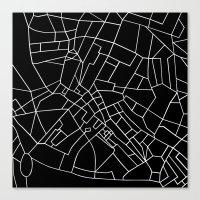 London Road Blocks Black Canvas Print