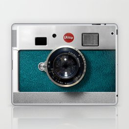 Blue Teal retro vintage camera with germany lens Laptop & iPad Skin