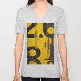 black numbers on yellow background Unisex V-Neck