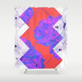 Abstract Geometric Peonies Flowers Design Shower Curtain