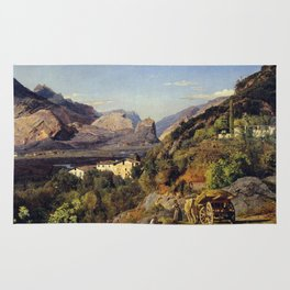 Ferdinand Georg Waldmüller Mountains of Arco at Riva Rug