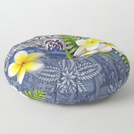 Blue Hawaiian Tapa and Plumeria Floor Pillow