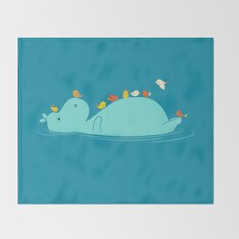 Floating Hippo Throw Blanket