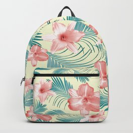 Tropical Flowers Palm Leaves Finesse #7 #tropical #decor #art #society6 Backpack