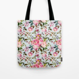 Pretty Pink Blossom on Duck Egg Blue Tote Bag