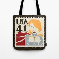 superheros Tote Bags featuring Power Girl by Teighe Armour Thorsen