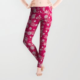 Festive Peacock Pink and White Christmas Holiday Snowflakes Leggings